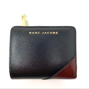 marc jacobs mini compact wallet black burgundyF295